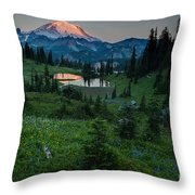 Down The Valley To Rainier Throw Pillow