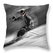 Downhill Skier  Throw Pillow by Dan Friend