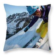 Downhill Skiier In Portillo, Chile Throw Pillow