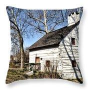 Downingtown Log House 1701 Throw Pillow