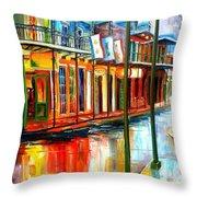 Downpour On Bourbon Street Throw Pillow