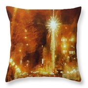 Downtown 6th St Seattle In Dec Throw Pillow