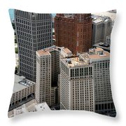 Downtown Aerial Of Detroit Michigan Throw Pillow