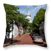 Downtown Annapolis With Maryland State House Cupola Throw Pillow