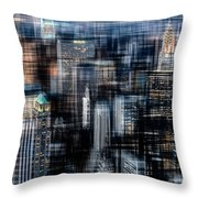 Downtown At Night Throw Pillow by Hannes Cmarits