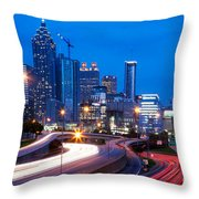 Downtown Atlanta At Dusk Throw Pillow