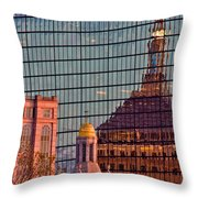 Downtown Boston Reflection Throw Pillow