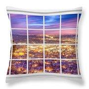 Downtown Boulder Colorado City Lights Sunrise  Window View 8lg Throw Pillow
