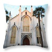 Downtown Charleston Church Throw Pillow