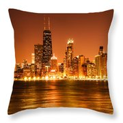 Downtown Chicago At Night With Chicago Skyline Throw Pillow by Paul Velgos