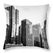 Downtown Chicago Buildings In Black And White Throw Pillow
