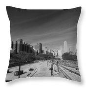 Downtown Chicago Train Tracks Black And White Throw Pillow