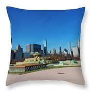 Downtown Chicago With Buckingham Fountain 2 Throw Pillow