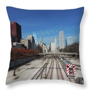 Downtown Chicago With Train Tracks Throw Pillow
