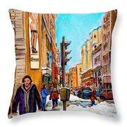 Downtown City Life Throw Pillow