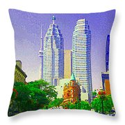 Downtown Core Flatiron Building And Cn Tower Toronto City Scenes Paintings Canadian Art Cspandau Throw Pillow