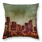 Downtown Denver Antiqued Postcard Throw Pillow