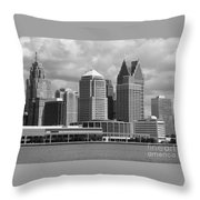 Downtown Detroit Riverfront Bw Throw Pillow
