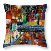 Downtown Friday Night Throw Pillow