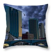Downtown Grand Rapids Michigan By The Grand River With Gulls Throw Pillow