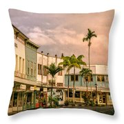 Downtown Hilo Sunday Morning Throw Pillow