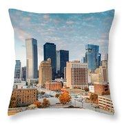 Downtown Houston Panorama Throw Pillow