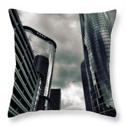 Downtown Houston Skyscrapers In Storm Throw Pillow