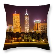 Downtown Indianapolis Skyline At Night Picture Throw Pillow