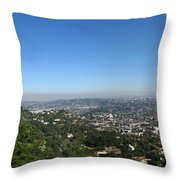 Downtown La From Griffith Observatory Throw Pillow