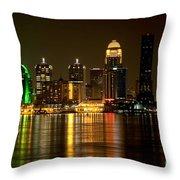 Downtown Louisville Kentucky Skyline Night Shot Throw Pillow
