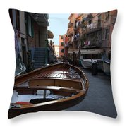 Downtown Manarola Throw Pillow