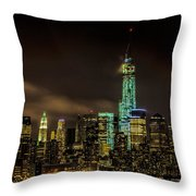 Downtown Manhattan At Night Throw Pillow