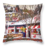 Patsy's Candies In Snow Throw Pillow