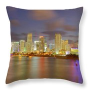 Downtown Miami And Aaa Throw Pillow