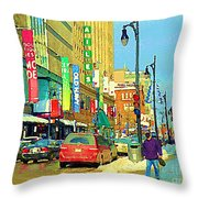 Downtown Montreal Eatons Centre Complex Les Ailes Old Navy Rue Mcgill College City Scenes  C Spandau Throw Pillow