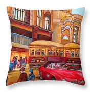 Downtown Montreal-streetcars-couple Near Red Fifties Mustang-montreal Vintage Street Scene Throw Pillow