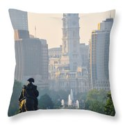 Downtown Philadelphia - Benjamin Franklin Parkway Throw Pillow