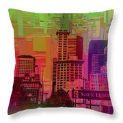Downtown Seattle Cubed 1 Throw Pillow