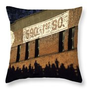Downtown Seattle With Silhouetted Runners On Brick Wall Early Mo Throw Pillow