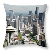 Downtown Skyline Of Seattle Throw Pillow