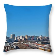 Downtown Tacoma View From The Rail Lines Throw Pillow