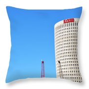 Downtown Tampa Photography - Leaning Tower Of Sykes - Sharon Cummings Throw Pillow