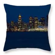 Downtown Vancouver At Night  Throw Pillow