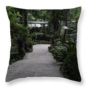 Downward Sloping Part Inside The National Orchid Garden In Singapore Throw Pillow