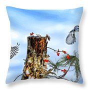 Downy And Titmouse Playing On Lichen Stump Throw Pillow