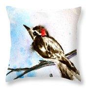 Downy Woodpecker Sumi-e Throw Pillow