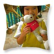 Dq Bear Lover At Baan Konn Soong School In Sukhothai-thailand Throw Pillow