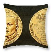 Dr Martin Luther King Jr And Coretta Scott King Bronze Medal Art Throw Pillow