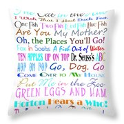 Dr Seuss Books 3 Throw Pillow