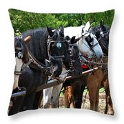Draft Horses All In A Row Throw Pillow